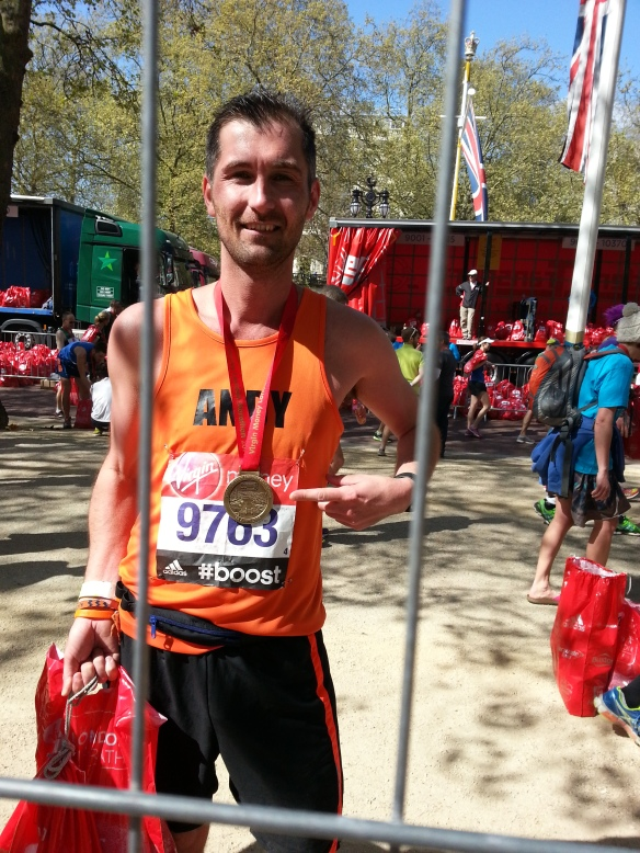 London marathon post race with medal
